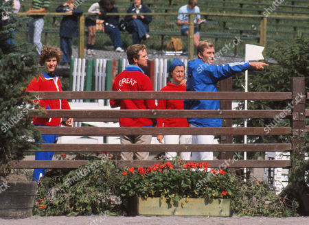 Modern Pentathlon - 1976 Montreal Olympics - Men's Team Riding Great Britain's Jim Fox checks out the fences with team coach Richard Meade and teammate Adrian Parker during the show jumping event in the Olympic Equestrian Centre Quebec Canada The British team of Fox Danny Nightingale and Adrian Parker won the team gold medal The modern pentathlon consists of pistol shooting épée fencing 200m freestyle swimming show jumping and a 3 km cross-country run Montreal Olympics - Modern Pentathlon