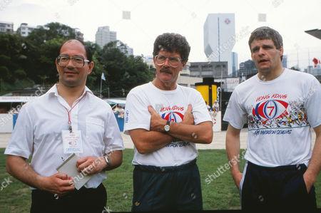 Ian Robertson (BBC Sports Commentator) Hong Kong Sevens tournament; 16/04/1989Australian Coach Bob Dwyer and Scottish International Finlay Calder Rugby Union 1989 Hong Kong Sevens