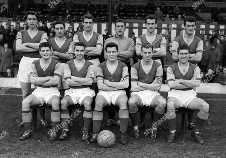 Stock Photo of Football - 1956 / 1957 Second Division - Bury 3 West Ham United 3 The West Ham United team group before the game at Gigg Lane on 1/12/56 Back (left to right): John Bond Andy Malcolm Malcolm Allison Robert Wyllie William 'Bill' Landsdowne Noel Cantwell Front: Malcolm Musgrove Derek Parker Eddie Lewis John Dick Ken Tucker West Ham United - 1956/57