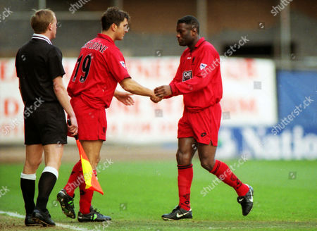 Stewart Castledine comes on for Robbie Earle - Wimbledon as a substitute Huddersfield Town v Wimbledon FA Cup 4th rd 24/01/1998 FA Cup R4: Huddersfield 0 Wimbledon 1