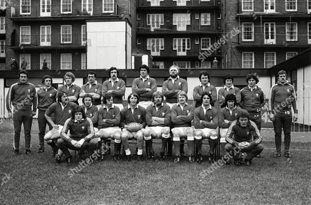 Rugby Union - 1979 Five Nations - Wales 27 England 3 (17/3/1979) Wales Team Group before the game at Cardiff Arms ParkBack Row (left to right): Stuart Lane Peter Morgan Graham Price Stanley Richardson Jeff Squire Allan Martin M G Roberts David Richards ----- ----- Front: Paul Ringer Elgan Rees JJ Williams JPR Williams Derek Quinnell Steve Fenwick Terry Holmes Gareth Davies Ground: Brynmor Williams and Clive Griffiths 5N 1979: Wales 27 England 3