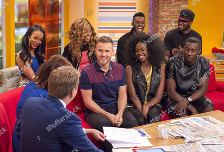 Aled Jones and Lorraine Kelly with Gary Barlow, Miss Dynamix and Rough Copy