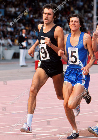 Athletics Rod Dixon (NZ) and Seb Coe (Loughborough and GBR) Nationwide Athletics meeting at Crystal Palace Aug 1976 1976 Nationwide Athletics Meeting