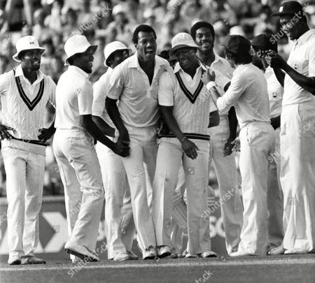 Colin Croft (lWest Indies) centre celebrates Desmond Haynes catch 4th test at The Oval England v West Indies 24 - 29/07/1980 England v West Indies Oval
