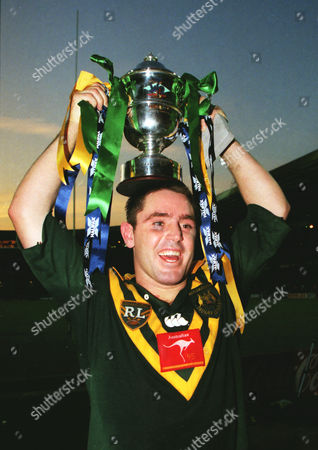 RUGBY LEAGUE Australian captain Brad Fittler lifts the trophy after their 16-8 win England v Australia1995 Rugby League World Cup FinalWembley Stadium 1995 RLWC Final