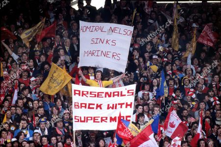 Arsenal Fans with Sammy Nelson and Malcolm MacDonald banners Ipswich Town v Arsenal FA Cup Final Wembley Stadium 06/05/1978 1978 FA Cup Final: Ipswich 1 Arsenal 0