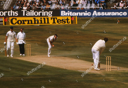 Cricket - 1981 Ashes Series Third Test Headingley - England vs Australia England batsman Graham Dilley looks on as Geoff Lawson of Australia bowls at Ian Botham during the pairs famous game-turning 117-run stand 1981 Ashes