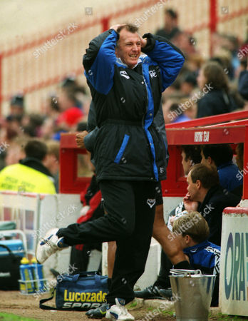 Barnsley v Birmingham City 05/04/1997 Trevor Francis - Birmingham Manager shows his frustration as a chance goes wide Barnsley v Birmingham City
