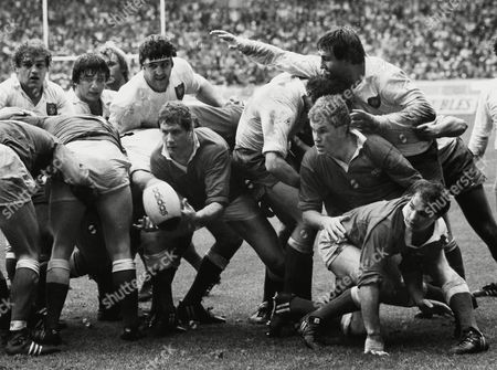Rugby Union - 1983 Five Nations Championship - France 16 Wales 9 Left to right Wales' John Perkins Eddie Butler and Terry Holmes at the Parc des Prince Paris 5N 1983: France 16 Wales 9