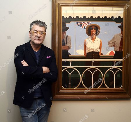 Jack Vettriano with his 'Bird on the Wire' painting