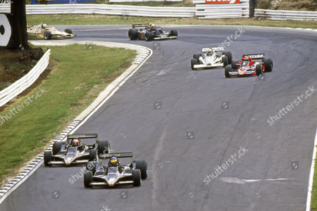 Motorsport - 1978 F1 Formula One World Championship - British Grand Prix The two Lotus cars of Mario Andretti (#5) and Ronnie Peterson (#6) lead the way at Brands Hatch with the Brabham of Niki Lauda (#1) the Wolf of Jody Scheckter (#20) and the Arrows of Riccardo Patrese (#35) behind All of the cars mentioned above retired from the race with exception of Luada who finished second 1978 British Grand Prix