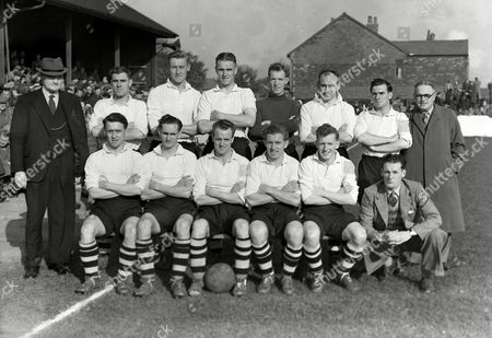 Football - 1950 / 1951 Third Division (North) - Southport 1 Darlington 0 The Darlington Team Group before the game at Haig Avenue on 14/10/50 Back (left to right): Mr G Urwin (Manager) Thomas Ward Joseph Davison Geoffrey Stone William Dunn John Eves Ronald Steel Mr Black (Director) Front: Ronald Hewitt Harry Yates Roy Brown Albert Quinn Peter Docherty Ernest Price (Reserve) Darlington - 1950/51