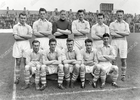 Football - 1954 / 1955 season Manchester City team group before a practice match on 17/08/1954 Back (left to right): J McTavish W Leivers Bert Trautman J Meadows R Paul Dave Ewing Front: Billy Spurdle W McAdams Don Revie J Hart Roy Clarke Manchester City - 1954/5