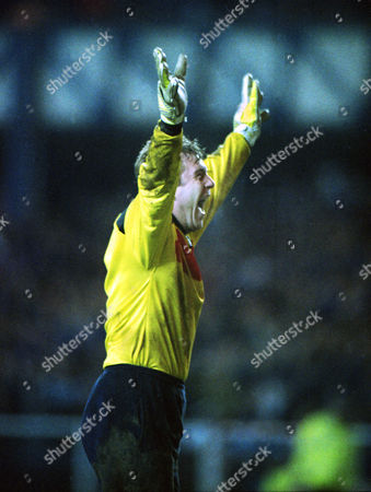 Football - Glasgow Rangers v Bruges Champions League Andy Goram (Rangers) celebrates their victory over Bruges 17/03/1993 Credit : Andrew Cowie/Colorsport Glasgow Rangers v Bruges