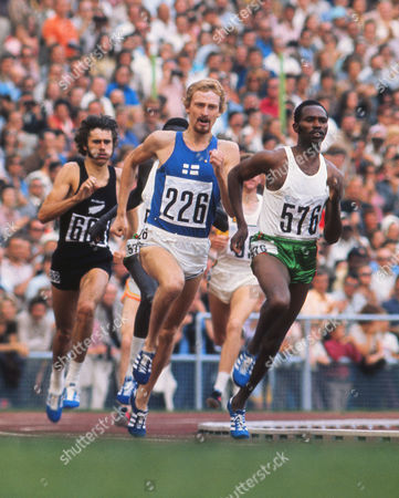 Athletics - 1972 Munich Olympics - Men's 1500m Final Finland's Pekka Vasala (#226) and Kenya's Kip Keino (#576) lead the way with New Zealand's Rod Dixon (#688) behind in the Olympiastadion Munich West Germany Vasala went on to win the gold Keino the silver and Dixon the bronze 1972 Munich Olympics - Men's 1500m
