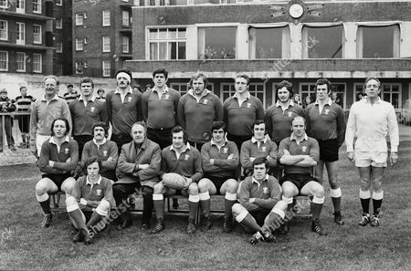 Rugby Union - 1974 Five Nations Championship - Wales 6 Scotland 0 The Wales Team Group before the game at Cardiff Arms Park on 19/01/1974 Back Row (left to right): J C Kelleher (linesman) Glyn Shaw Mervyn Davies Allan Martin Derek Quinnell Phil Llewellyn Keith Hughes Dai Morris R F Johnson (referee) Front: JPR Williams Gerald Davies Clive Rowlands (coach) Gareth Edwards (captain) Bobby Windsor Phil Bennett Terry Cobner Ground: JJ Williams Ian Hall 5N 1974: Wales 6 Scotland 0