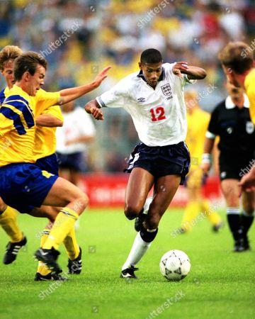Football - 1992 UEFA European Championship - Group One: Sweden 2 England 1 England's Carlton Palmer on the ball in the Rasunda Stadium Solna Sweden Euro1992 Grp 1: England 1 Sweden 2