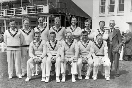 Cricket - 1955 season - Leicestershire vs Surrey 21/05/1955 The Surrey team group before the game at Grace Road Leicester on 21/5/55 Back l-r: Bernard Constable Dennis Cox (12th man) Ronn Pratt Tony Lock Tom Clark Mickey Stewart David Fletcher J Tait (masseur) Front: Jim Laker Peter May Stuart Surridge Alec Bedser Arthur McIntyre (wicketkeeper) Surrey won the game by 7 wickets Surrey CCCC