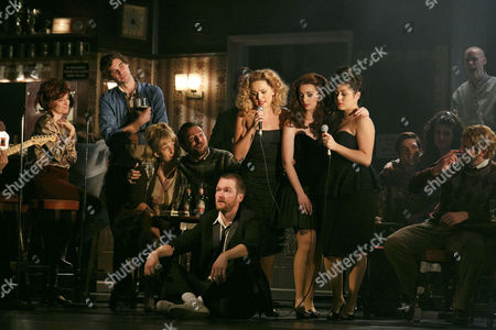 Foreground, on floor: Killian Donnelly (Deco), Standing, L-R: Stephanie McKeon (Natalie), Sarah O'Connor (Imelda), Jessica Cervi (Bernie)