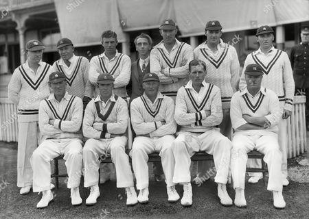 Cricket - 1935 season - F R Santall's Benefit Match (Warwickshire vs Sussex) F R Santall's Warwickshire team group for the game at Edgbaston on 20-23/7/35 Back row (left to right): Eric Hollies 'Jack' Smart 'Tom' Dollery George 'Chico' Austin (Scorer) George Paine 'Danny' Mayer Aubrey Hill Front: 'Arthur' Croom R E S Wyatt (Captain) Reg Santall Harley Roberts Norman Kilner Warwickshire C.C.C. - 1935