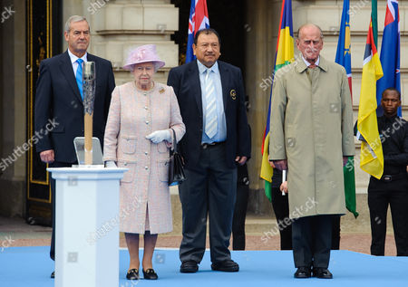 Queen Elizabeth II and Prince Philip with President of the Commonwealth Games Federation Prince Imran and Chairman of Games Organiser Lord Smith of Kelvin