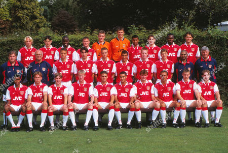 Stock Picture of Football - ARSENAL YOUTH TEAM SQUAD 1997/98 01/08/1997 Back row : L to R Jamie Day Graham Barrett Andrew Douglas Allan McLeod David Beale Stuart Taylor Ashley Cole Tommy Black Danny Boateng Terry Bowes Middle row : Neil Banfield (coach) Don Howe (Coach) Lee Canonville Allan McLeod Clayton Cowell James Harper Rhys Weston Guillame Norbert Kam Bhabra (coach) Don Givens (coach) Front : Julian Gray Matthew Wicks Greg Lincoln Lee Doherty Richard Hughes Omar Rizer Paolo Vernazza James McDonald Nando Perna David Livermore Marc Thorogood