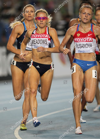 Athletics - World Championships 2011 - Daegu - Day Seven Jenny Meadows of Great Britain competes in the heats of the 800m, during day seven of The Athletics World Championships in Deagu, South Korea on 2nd September 2011. Right is Russia's Yulia Rusanova