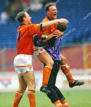 Football - Blackpool v Scunthorpe United 23/05/1992 4th Division play off final at Wembley Andy Garner Paul Groves and Steve McIlhargey - Backpool celebrate Promotion at the final whistle