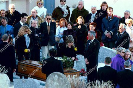 Jane Fonda, Brigitte Bardot, Catherine Schneider and Marie-Christine Barrault at the Funeral of Roger Vadim in St Tropez