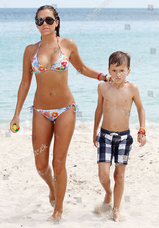 Editorial photo of Sylvie Van Der Vaart and son at the beach in Miami, Florida, America - 09 Oct 2013