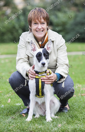 Conservative MP Caroline Spelman with Meridan, her Rescue Dog, outside the Houses of Parliament after competing in the Westminster Dog of the Year award