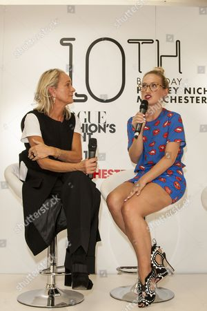 Fashion designer Sophia Webster taking questions from Vogue Fashion Director Lucinda Chambers