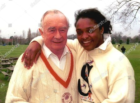 Stock Image of WILLIAM FRANKLYN AND PAULINE RICHARDS AT THE FEBRUARY FOOLS CHARITY CRICKET MATCH FOR THE ROYAL MARSDEN HOSPITAL