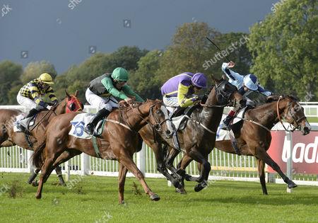 (L) Prince Regal (Robert Tart) wins The Ladbrokes Mobile Handicap Stakes from (C) Church Music (William Twiston-Davies) and (R) Sarango (Tom McLaughlin)
