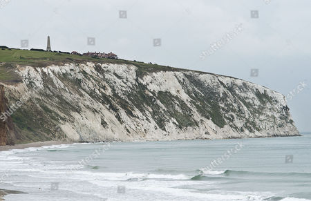 Suicide Of Paul Charles And Wife Jacqueline Charles. The Cliff Top At Culver Down On The Isle Of Wight Where A Couple Drove Their Car Over The Cliff Edge And Died Yesterday. (point Of Crash Is Directly Down From The Tower And To The Right On The Shore)