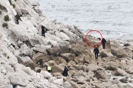 Marines And Police On The Beach At Culver Down Isle Of Wight. Paul Charles And Wife Jacqueline Charles Died When Their Car Plunged Off The Cliff Top At This Spot Yesterday During An Apparent Suicide Pact.