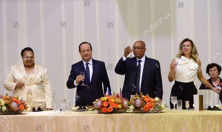 Stock Image of Nompunelelo Zuma, Francois Hollande, Jacob Zuma and Valerie Trierweiler