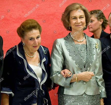 Queen Sofia of Spain accompanied by Duchess of Soria