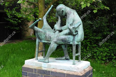 'Sheep Shearer' by Ralph Brown, 1955, adjacent to common room in Momples Road, Ladyshot, Harlow, Essex, England, Britain
