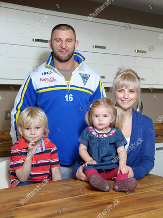 Warrington Wolves Rugby League Player Paul Wood At Home With His Wife Shelley And Children Darcey And George.