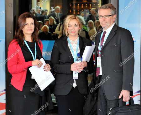 Conservative Party Conference At The Birmingham International Conference Centre. (l To R) Jacqui Hames Charlotte Church And Professor Brian Cathcart From The Hacked-off Campaign Arrive At The Hyatt Hotel For A Private Meeting With The Pm.