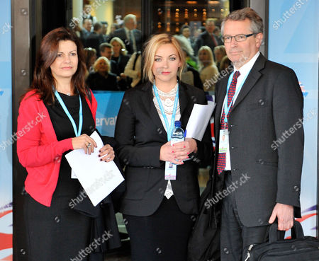 Conservative Party Conference At The Birmingham International Conference Centre...(l To R) Jacqui Hames Charlotte Church And Professor Brian Cathcart From The Hacked-off Campaign Arrive At The Hyatt Hotel For A Private Meeting With The Pm.