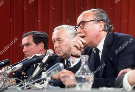 L-R: DENIS HEALEY, HAROLD WILSON AND ROY JENKINS - 1970