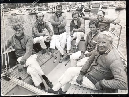 Edward Heath - Politician 1971. Edward Heath And His Yacht Morning Cloud (renamed Opposition 4/73). Edward Heath With L-r: Anthony Sampson Duncan Kay Peter Dove Peter Holt Anthony Churchill And Owen Parker. **original Print Held In Kensington** Pkt3821-285616.