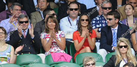 Pippa Middleton With Her Parents Michael Middleton And Carole Middleton And Alex Louden At The Wimbledon Tennis Championships 2011 Jo-wilfried Tsonga V Roger Federer Match.