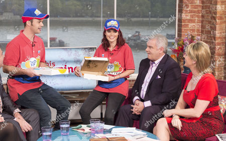 Blue Peter presenters Barney Harwood and Lindsey Russell deliver pizzas for Children In Need with Presenters Eamonn Holmes and Ruth Langsford