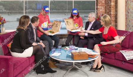 Blue Peter presenters Barney Harwood and Lindsey Russell deliver pizzas as part of Children In Need campaign also in pictures Julia Hartley-Brewer and Paul Ross with Presenters Eamonn Holmes and Ruth Langsford