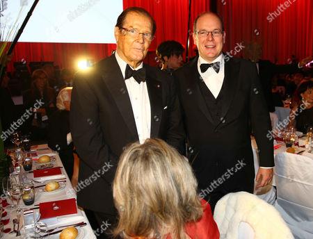 Sir Roger Moore and wife Kristina Tholstrup, Prince Albert II of Monaco