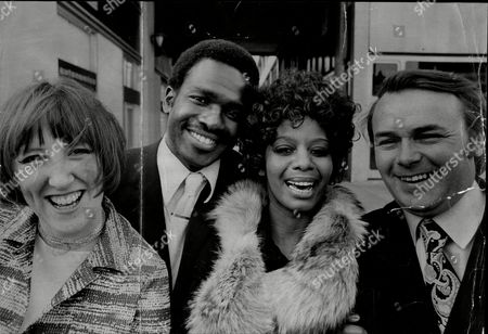 Stock Image of The Cast Of The Television Programme 'love Thy Neighbour'left To Right Kate Williams Rudolph Walker Nina Baden Semper And Jack Smethurst.