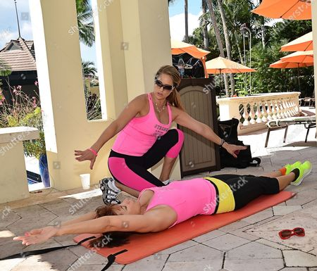 Editorial image of Jill Zarin workout with celebrity fitness trainer Jennifer Nicole Lee at Woodfield Country Club Boca Raton, Florida, America - 14 Oct 2013